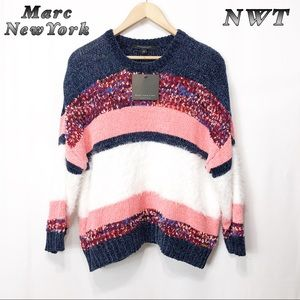 NWT-Marc NewYork Navy White  Coral sweater L